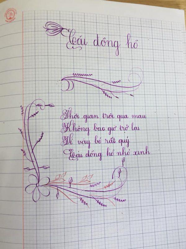 Bài thi viết chữ đẹp của học sinh lớp 5