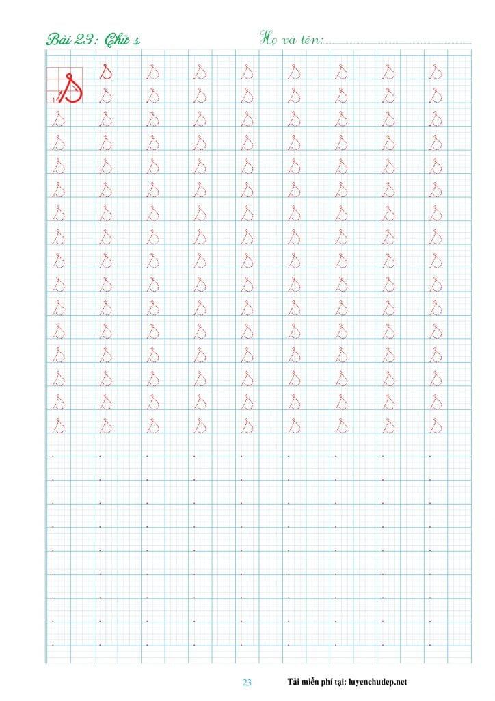 mẫu vở tập viết 29 chữ cái