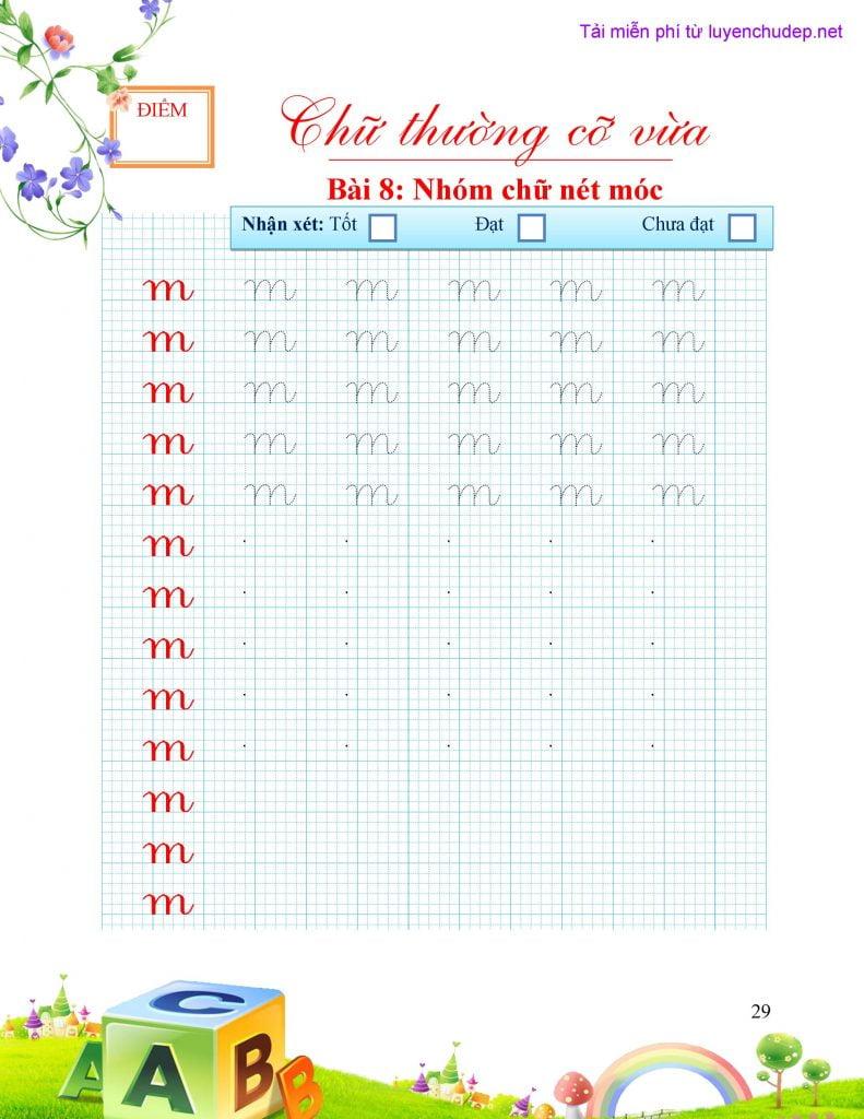 vở mẫu luyện chữ thường theo nhóm nét cơ bản