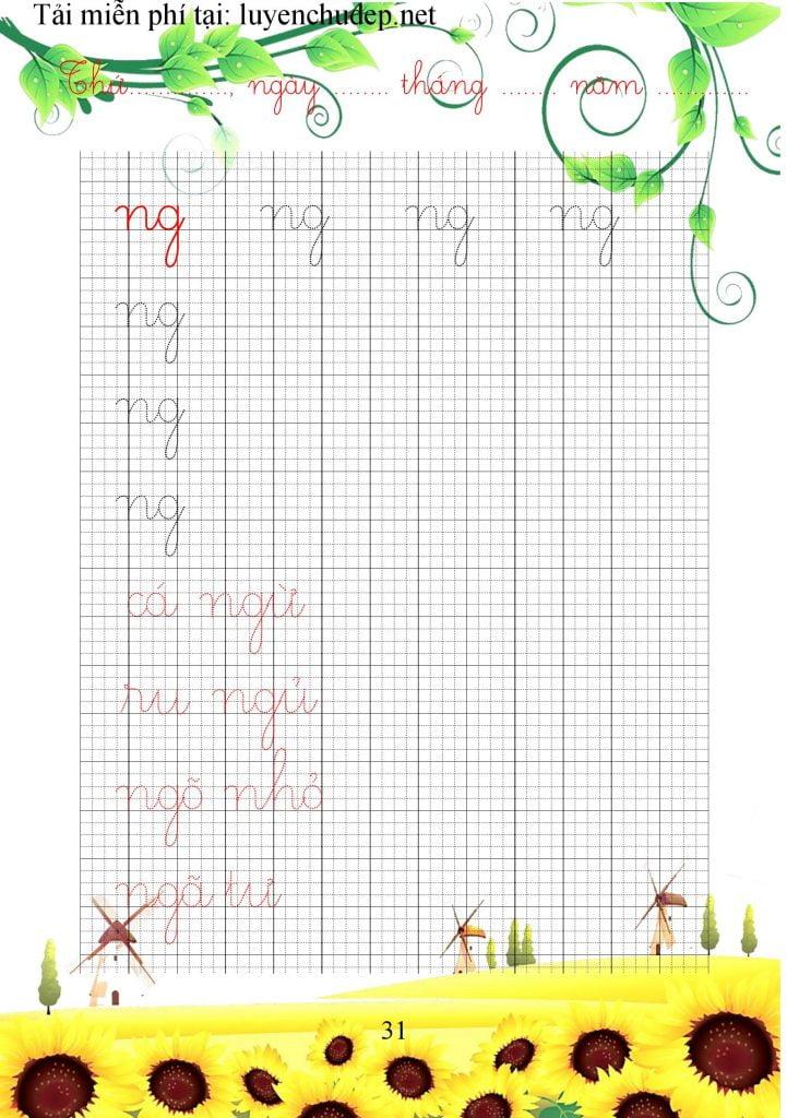 vở mẫu luyện chữ cái thường, nhóm chữ ghép