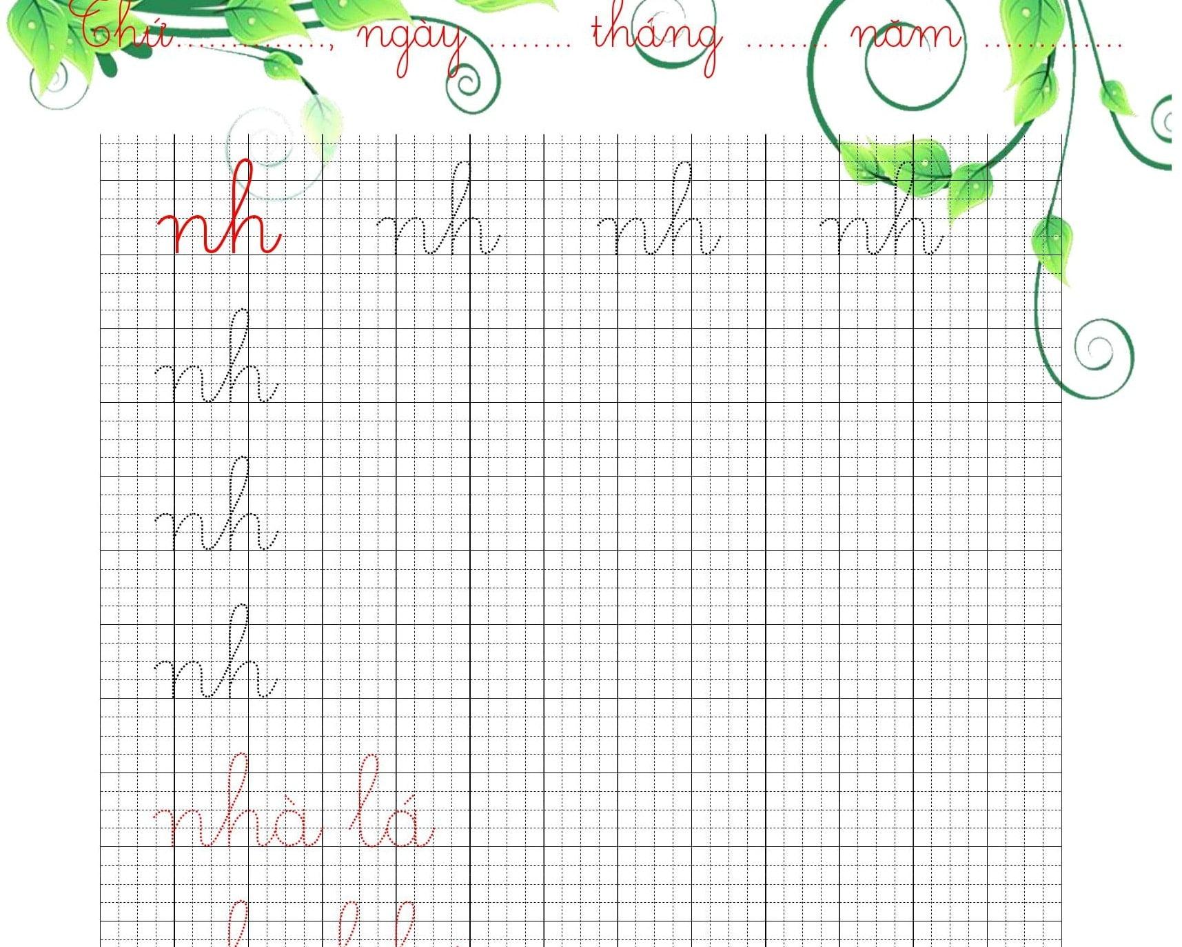 Bản mềm: Vở mẫu luyện chữ cái thường, nhóm chữ ghép cỡ 4 ô ly