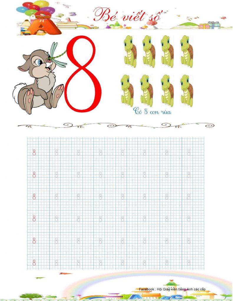 Vở mẫu tập viết chữ số 8
