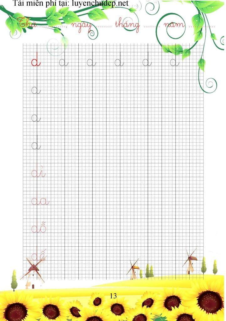 bài tập viết chữ d