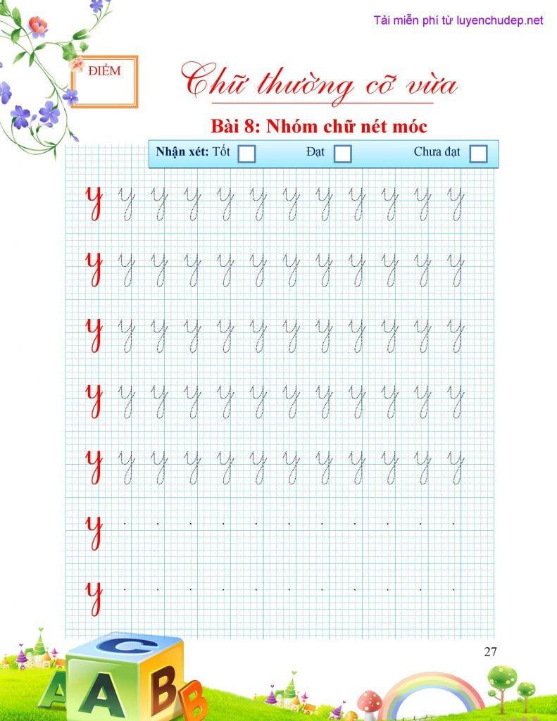 bài tập viết chữ y