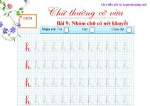 bài tập viết chữ h