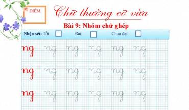Bài tập viết chữ ghép ng