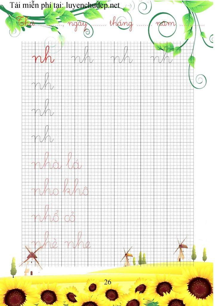 bài tập viết chữ ghép nh