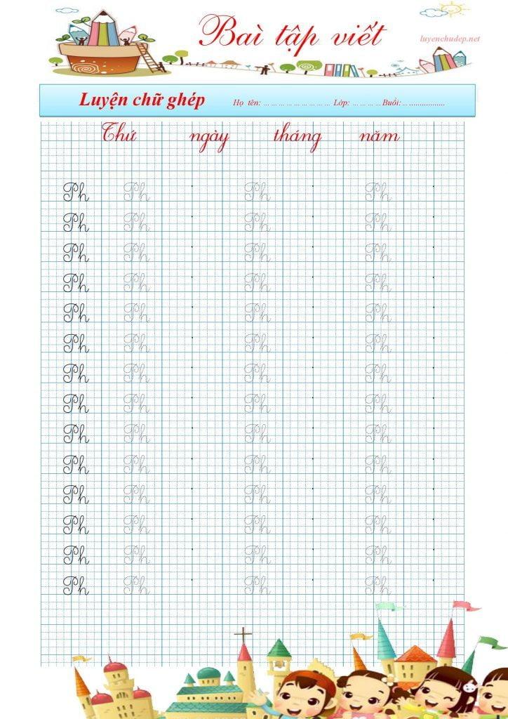 bài tập viết chữ ghép ph