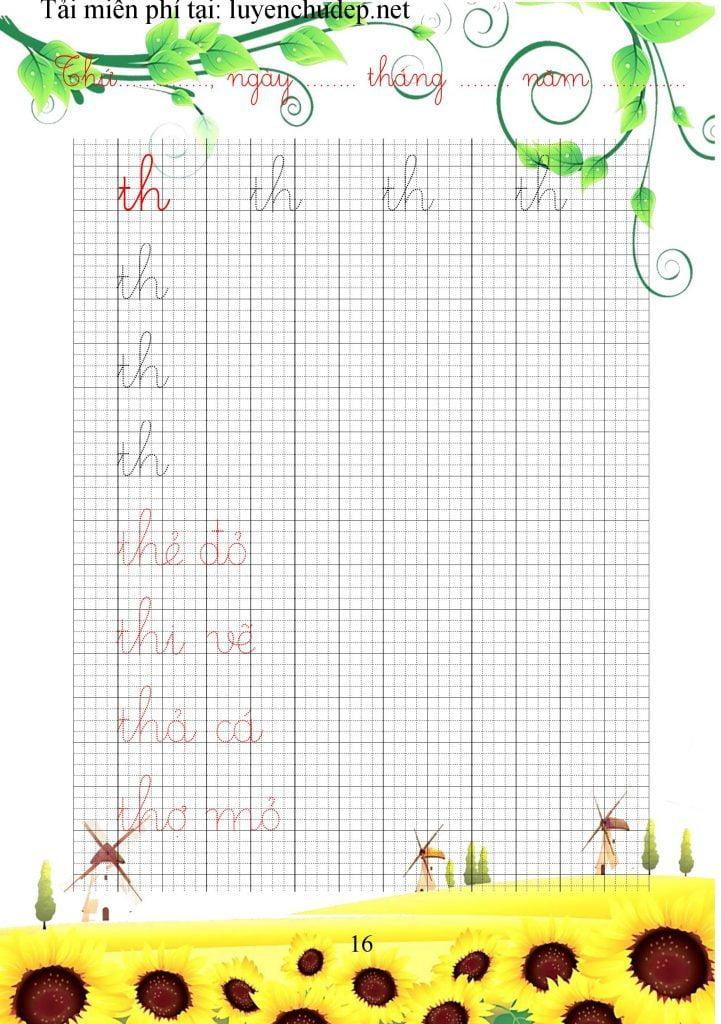 Bài tập viết chữ ghép th