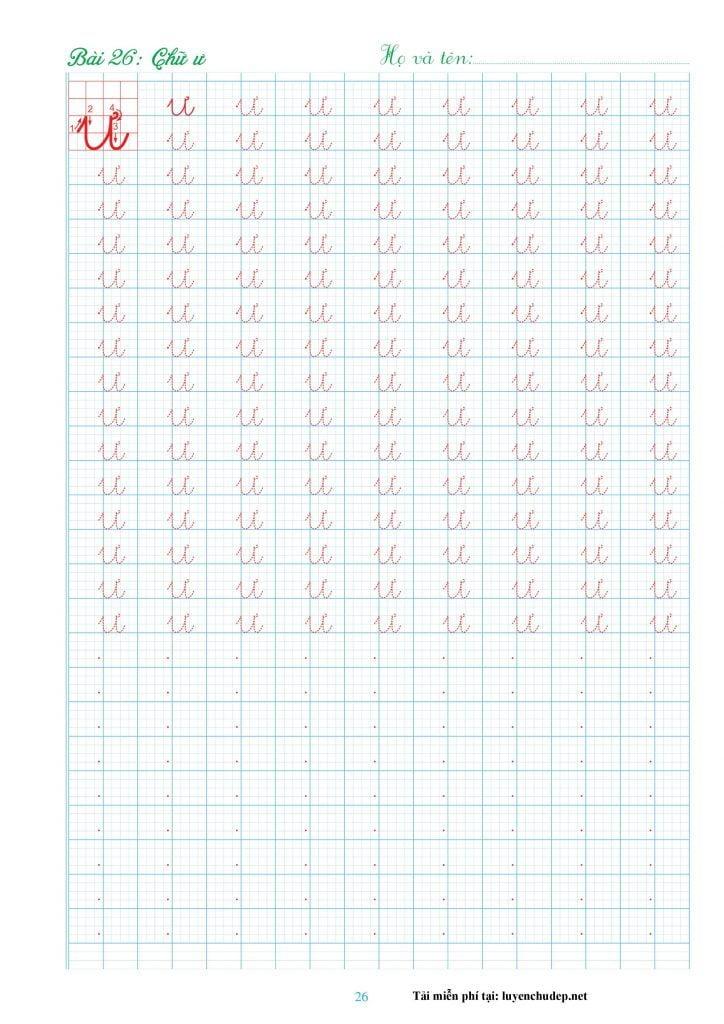 bài tập viết chữ ư