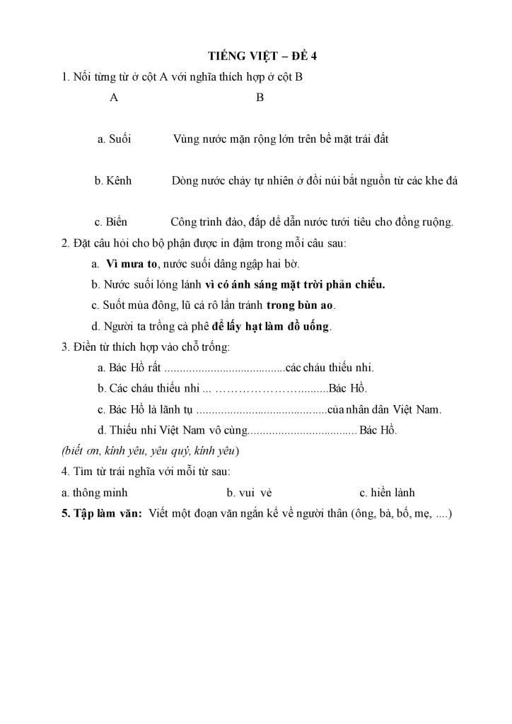 đề khảo sát môn toán và tiếng việt lớp 2