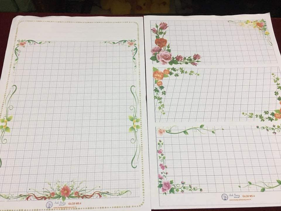 mẫu giấy hoa viết chữ đẹp
