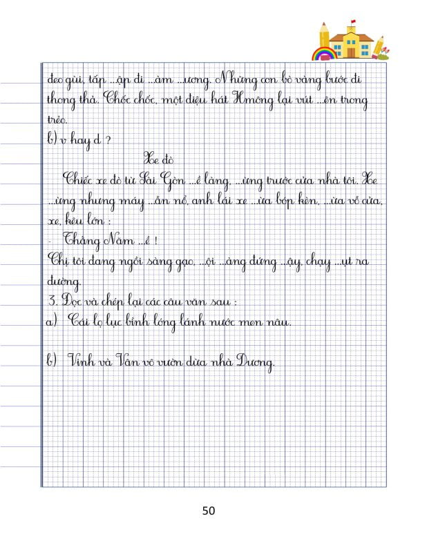 vở chính tả lớp 3 tập 2