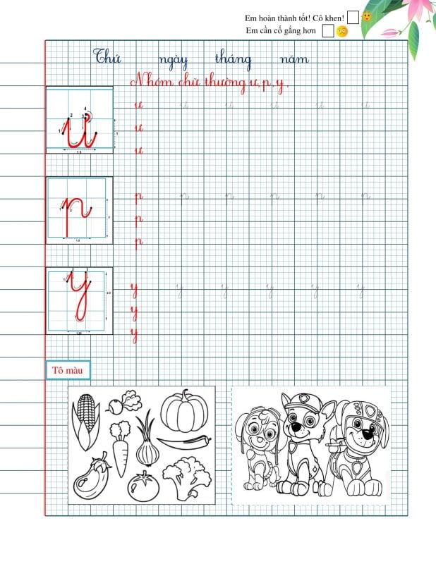Vở luyện chữ đẹp chữ cái thường và hoa