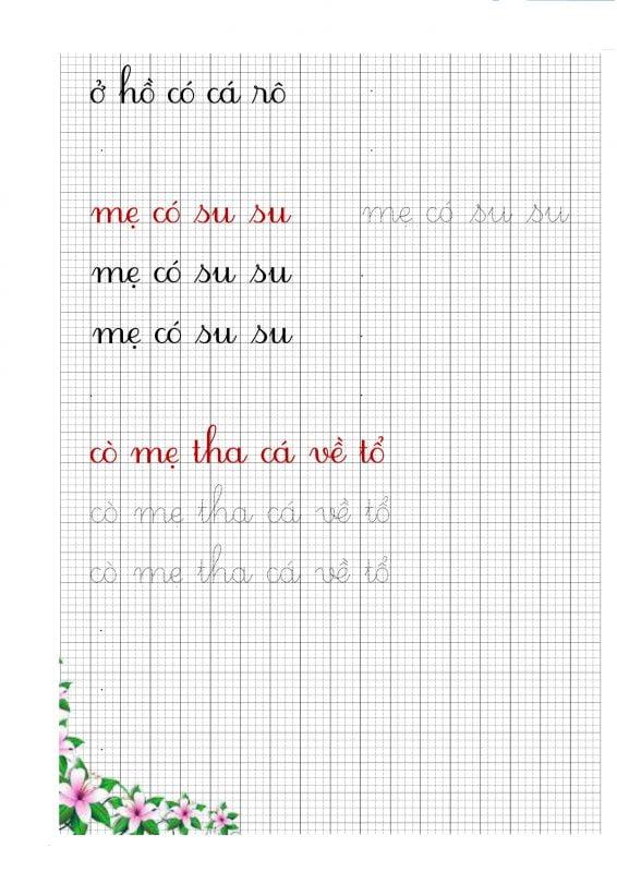 Vở luyện chữ đẹp theo tiếng, từ và câu
